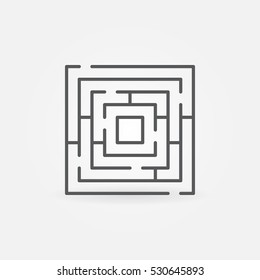 Labyrinth minimal icon. Vector concept square maze symbol or logo element in thin line style