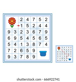Labyrinth with numbers - worksheet for preschool kids - vector.. Mathematical puzzle game. Learning mathematics. Tasks for counting for preschool children.