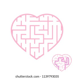 Labyrinth with pink stroke. Lovely heart. A game for children. Simple flat vector illustration isolated on white background. With the answer
