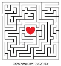 Labyrinth mit rotem Herzen und zu betreten. Finde deine Liebe. Finden Sie den Weg. Beziehung. Herzlichen Glückwunsch Valentinstag.  Vektorgrafik.