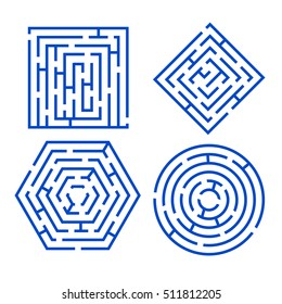 Labyrinth Set Different Shapes for Game, Books, Leisure. Vector illustration of maze square, round, hexagon, puzzle riddle logic game concept. Business sign, line symbol.