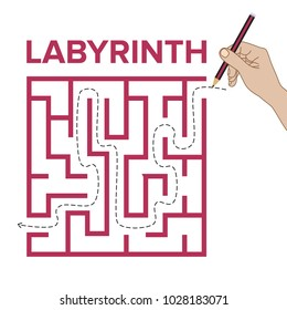 Labyrinth shape design element. One entrance, one exit and one right way to go, but many paths to deadlock.