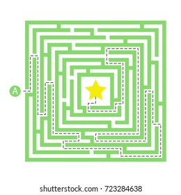 Labyrinth shape design element. One entrance, one destination and one right way to go. But many paths to deadlock.