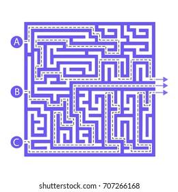 Labyrinth shape design element. Three entrance, three exit and three right way to go. But many paths to deadlock.