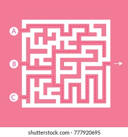Labyrinth shape design element. Three entrance, one exit and one right way to go, but many paths to deadlock.