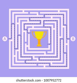 Labyrinth shape design element. Two entrance, two way to get award cup in maze / labyrinth but many paths to deadlock.