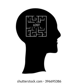 Labyrinth  in the shape of a human head.  Human head with maze inside brains, lost in mind vector concept illustration, icon