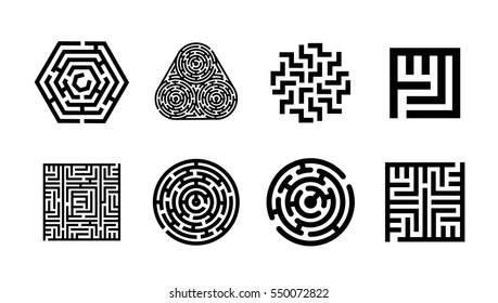 Labyrinth symbol collection. Maze icon set