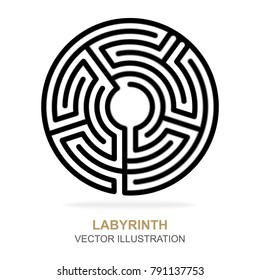Labyrinth vector illustration, icon and background.