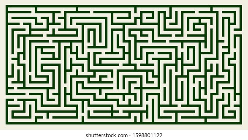 Labyrinth vector rectangle shape. Maze (labyrinth) game illustration