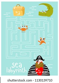 Labyrinths. Find the treasure. The pirate is looking for a treasure. A game for children.