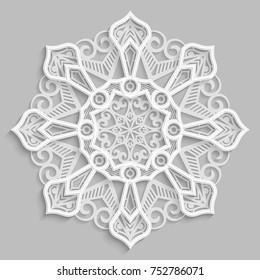 Lace 3D mandala,  round symmetrical openwork pattern,  decorative  snowflake, arabic ornament, decorative design element,  vector