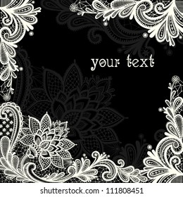 Lace  background with a place for text. Black and white lace vector design.