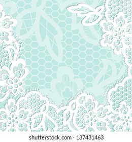 Lace background with a place for text. Vintage turquoise lace vector design realistic. Eps 8