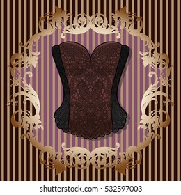 Lace black-brown vintage corset vector