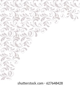 Lace border for decoration of leaves, flowers and swirls. Floral design element. Ornamental background.