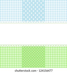 Lace border on fabric checked background