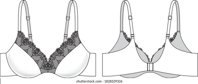 Lace Bra technical illustration. Editable underwear flat sketch