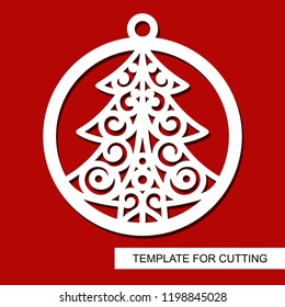 Lace christmas tree in a ball. Template for laser cutting, wood carving, paper cut and printing. New Year theme. Vector illustration.