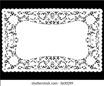 Lace Doily Place Mat. Antique border design, vintage pattern, white isolated on black background for setting table, holidays, celebrations, scrapbooks, cake decorating, arts, crafts. EPS8 compatible.