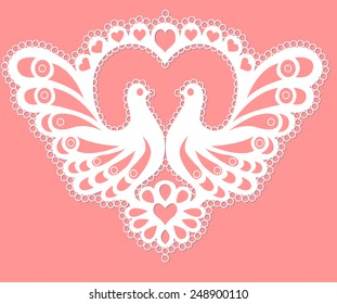 Lace doves on the background of the heart