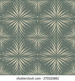 Lace effect seamless pattern, background, fabric with grid, abstract elements, textile, fashion, beautiful print