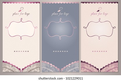 Lace floral bra background. Set of luxury vertical banners for Pajama Party, lingerie shop or underwear ad. Vector
