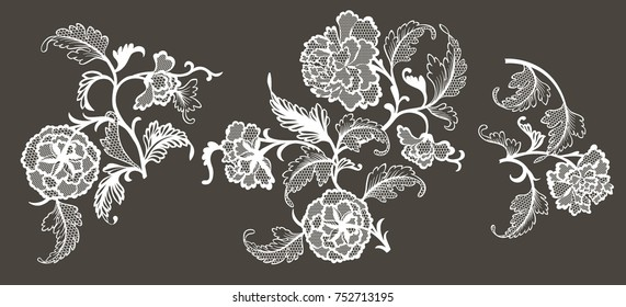 lace floral elements for your design