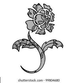 Lace flower black vector applique/ May be used as decoration