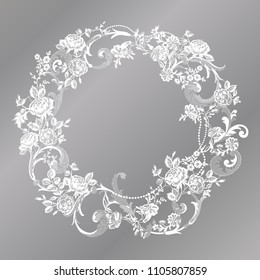lace flowers frame decoration element