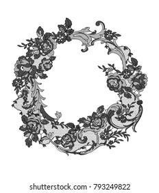 lace flowers frame decoration element