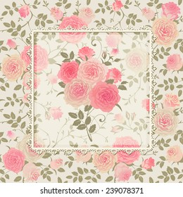 Lace frame with a bouquet of roses on a floral background. Seamless vector floral ornament. Shabby chic style pattern.