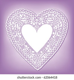 Lace Heart Doily, vintage antique design pattern. Lavender background. Copy space to add greeting for Mother's Day, Valentine's Day, birthdays, showers, weddings, anniversaries, cake decorating. EPS8.