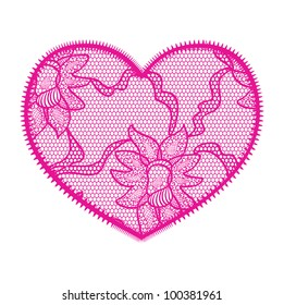Lace heart pink applique. May be used as decoration.