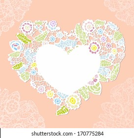 lace heart. valentine greeting card