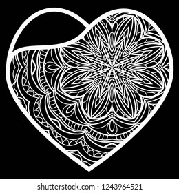 Lace Heart For Valentines Day Ornamental Design. For Plotter Cutting Or Printing, Wood, Metal. Vector Illustration.