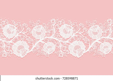 Lace horizontal seamless openwork roses. White lacy mesh on a pink background. Vector illustration
