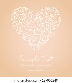 Lace illustration of heart and sample text. Template for design romantic greeting card, wedding invitation with ornamental heart