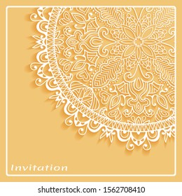 Lace Invitation Card template with mandala element. Doodle line pattern. Decorative openwork filigree art background for Wedding, Valentine's day greeting card, Birthday Invitation