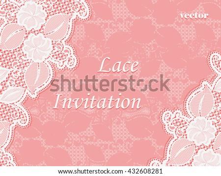 Lace Invitation Design Template Sample Wedding Stock Vector Royalty