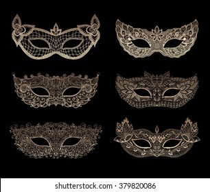 Lace mask mardi gras. Mask for carnival. Henna Paisley Mehndi Doodles set. Abstract Floral mask zentangle