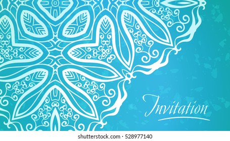 Lace ornament on blue background, Elegance template for invitation or business card, Greeting, or cover