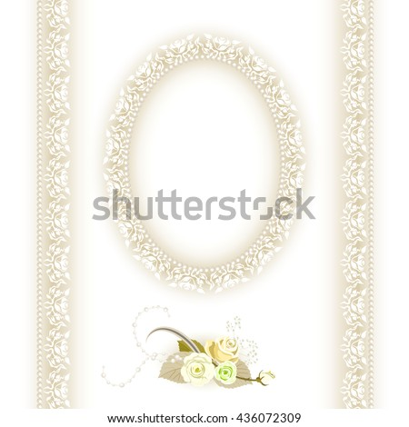 Lace Oval Frames Flowers Pearls Lace Stock Vector (Royalty Free ...