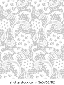 Lace pattern with floral motifs. Grey and white. Vector seamless repeating pattern.