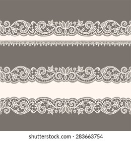Lace Ribbons. Horizontal Seamless Patterns.