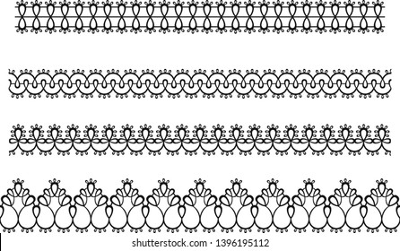 Lace seamless border isolated. Vector tracery ribbon, frill. Decorative pattern for textiles, laser cutting, woodcarving. Design for wedding invitation, card, scrapbooking. Vector illustration.