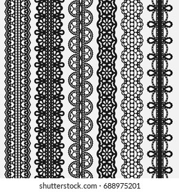 Lace seamless Borders set Isolated on white. Vector illustration
