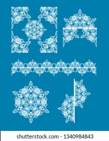 Lace Seamless pattern and icons