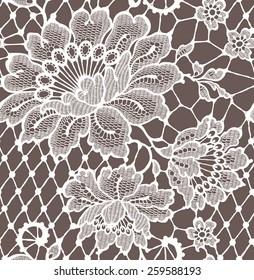 Lace seamless pattern White
