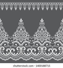 Lace seamless vector pattern with flowers and swirls, retro lace borders design, detailed floral ornament in white on gray background. Beautiful lace ornamental frame, vintage textile decoration
